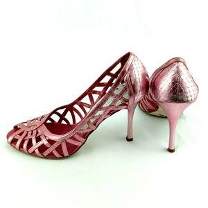 BCBG Strappy pink stilettos high heels size 7